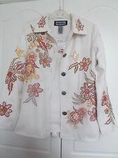 NWT INDIGO MOON cream figured jacket  orange and gold sequins size XS