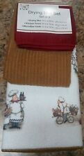 Fat Chef Bicycle Bread Wine Kitchen Decor 3pc Set Dish Drying Mat Kitchen Towels