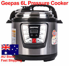 GEEPAS 6L 10-in-1 Stainless Steel Non-Stick Electric Pressure Cooker 1000W