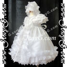 C7 New Baby Girls Christening Baptism Holy Communion Bonnet Gown Dress 0-2 Years