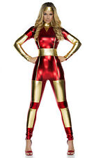 Iron Man Bodysuit Adult Womens PVC Super Hero Halloween Fancy Dress Cosplay New