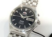 ORIENT 3 Star Automatic Watch Mens SILVER tone Dark Blue FEM5M010D9 Orient Box