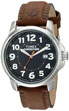 Timex Men's #T44921 Expedition Metal Classic Analog Brown Leather Strap Watch