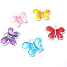 5 pieces 13x10mm Papillon en Alliage de Zinc émail charme Pendentifs-mixte-A8137