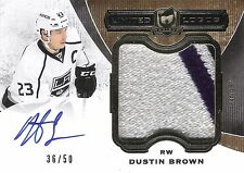 Dustin Brown 2014-15 The Cup Limited Logos Autograph & 3-Color Patch 36/50 Auto