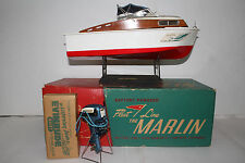 1950's Fleet Line Marlin Fishing Boat, K&O Evinrude 25 HP Motor, Original Boxes