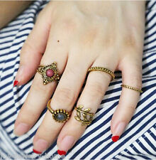 5PCS/Set Gold Punk Vintage Ring Women Retro Finger Knuckle Rings Band Boho Style