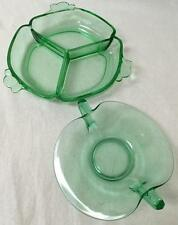 Vintage PAIR of Vaseline green depression glass candy dish-divided dish Pretty!