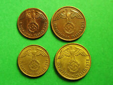Germany,Third Reich 1;2:5;10 Reichspfennings Set, German Eagle, Nazi Swastika