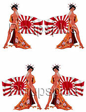 Sexy Geisha Pinup Girl Japanese flag Waterslide Decals for Guitars & more #256
