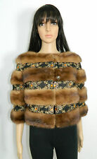 BROWN MINK FUR BOLERO JACKET LACE TRIM 3/4 SL. Sz.M Nerz-Visone-貂皮-ミンク