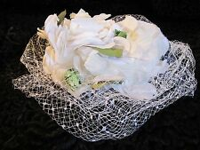 True Vintage 1950 1960 Bianco Net velluto FASCINATOR CON CAPPELLO GOODWOOD SPOSA