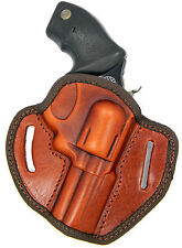 "SEMI-MOLDED BROWN LEATHER BELTSLIDE OWB HOLSTER - S&W 357 MAGNUM 3"" REVOLVER"