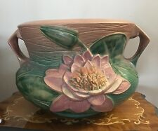 """Roseville Pottery Pink Water Lily 663-10"""" Large Floor Planter Jardiniere"""
