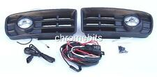 FOG LIGHTS LAMPS GRILLES SET FOR VW GOLF 4 MK4 1997-2002 & WIRING KIT A18 NEW