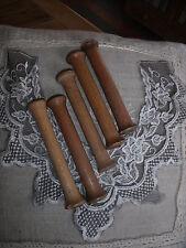 5 ANCIENNES BOBINES EN BOIS METIER A TISSER FIL DE SOIE CANUTS