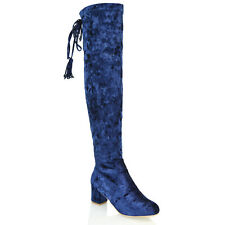 NEW WOMENS OVER THE KNEE HIGH LOW HEEL BLOCK LADIES STRECHTY THIGH HIGH BOOTS