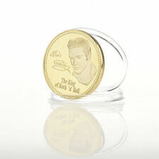 Elvis Presley 1935-1977 The King of N Rock Roll Gold Art Commemorative Coin  New