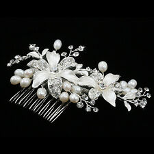 New 5'' Bride Hair Combs Pearl Crystal Silver Wedding Hair Accessories Tuck Comb
