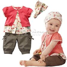 3pcs Newborn Toddler Kids Baby Girls T-shirt Tops+Pants +Hat Outfits Clothes Set