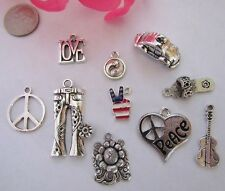 Peace love heart flower jeans sandal guitar yin yang hippie charms dare2gobare