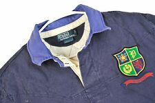 MENS L VTG Polo Ralph Lauren Rugby Shirt Padded Quilted CUSTOM FIT Crest 92