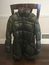 Add Authentic Down Puffer Jacket! Forest Green Color Sz 10!  Hood/Belt! Warm!!