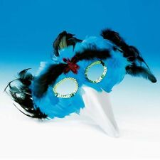 Turquoise Blue Feather Bird Mask With Beak - Animal Fancy Dress - Dance Costume