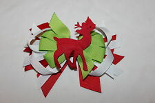 Christmas Reindeer Hair Bow With Double Prong Clip