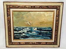 Morris Katz Listed Artist Seascape Seagull Oil on Board Painting 1978