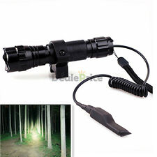 1000LM Tactical CREE T6 LED Flashlight Torch+Mount Remote+Pressure Switch Black