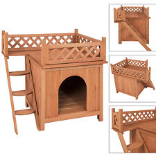 Pet Dog Wood House Indoor Puppy Room Outdoor Roof Balcony Bed Shelter