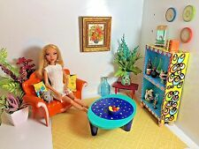 BARBIE,doll,OOAK,DIORAMA,couch/sofa/chair,coffee table,shef,stand,custom made