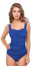 Profile by Gottex Cobalt Blue Tutti Frutti Ruched Tankini Swimwear Top Size 38E