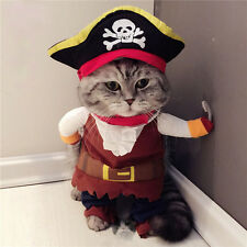 Cat Captain Pirate Costume Coat with Skull Hat Pet Dog Puppy Kitty Cosplay M SZ