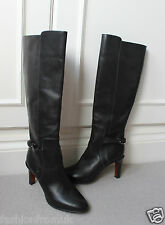 $1,175 CHLOE BLACK LEATHER METAL STRAP PULL ON BOOTS 36.5