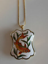 Vintage Gold Metal Coi Fish Genuine Cloisonne Puffed Pendant Necklace Carle MWT
