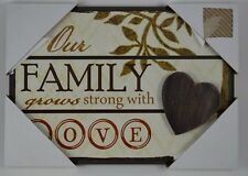 Family Grows Strong Love Heart Inspirational Wood Sign Plaque Wall Art Picture