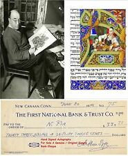 ARTHUR SZYK  GRAPHIC ARTIST DESIGNER GENUINE HAND SIGNED BANK CHEQUE/CHECK  RARE