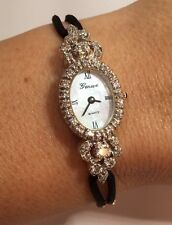 RARE Vintage 14k White Gold Geneve 1 Ct Diamond VS Tennis Antique Bracelet Watch