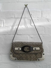 "GUESS CLUTCH HANDBAG WITH FAUX CROC SKIN DETAIL AND CHAIN STRAP - 11"" X 6"""