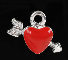 2 pcs Charm Pendants Arrow Heart Silver Plated Enamel Red 17x14mm LC0843