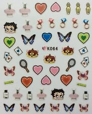 Nail Art 3D Decal Stickers Betty Boop Hearts Butterfly Rings Purfume Crown K064