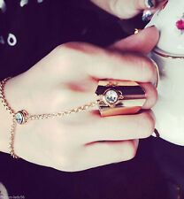 Women Bracelet Bangle Slave Chain Link Interweave Finger Rings Hand Harness Gold