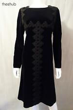Vtg 1960s Chic Christian Dior Diorling London Heavy Velvet Shift Braid Mod Dress
