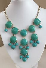 J.Crew Bubble Bead / Bib Dangly Statement Necklace Turquoise & Gold Tone