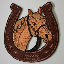 1 Beautiful Horse Racing Horseshoe Cowboy Embroidered Applique Iron on Patch Hat