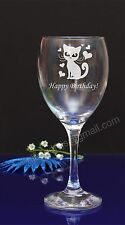 Personalised Cat, heards engraved wine glass Birthday,Christmas gift present194