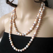 "48"" 8-9mm MultiColor Freshwater Pearl Necklace White Pink Purple"