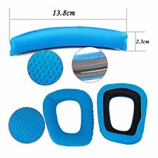 Blue Logitech G35 G930 F450 Headphones Replacement Headband Earpads Cushion Set